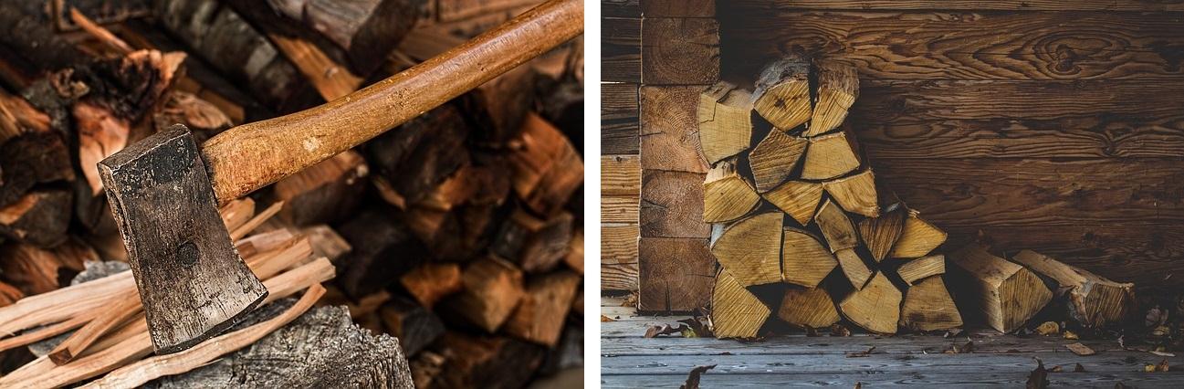 Przygotowanie drewna do palenia w kominku