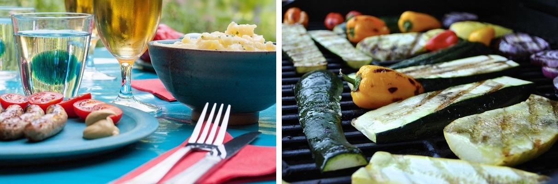 Obiad a może kolacja na działce przy komfortowym, ogrodowym stoliku z ławkami