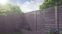 Ciemny, szary kolor dobrze prezentuje się w ogrodach, w nowoczesnym stylu