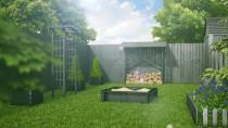 Szary kolor płotu pasuje do ogrodu w stylu nowoczesnym