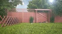 Brązowy płotek myśliwski w ogródku