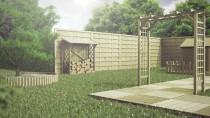 Rollbordery wśród drewnianej architektury ogrodowej