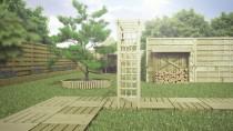 Drewniane podesty idealnie komponują się z ogrodowym trawnikiem