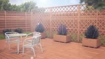Drewniana architektura ogrodowa w kolorze brąz - idealne połączenie