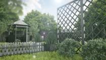 Skrzynki drewniane szare w ogrodzie - piękna kompozycja z zielenią