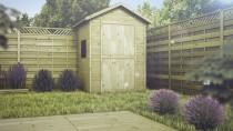Drewniana szafa ogrodowa świetnie wkomponuje się w ogrodową przestrzeń