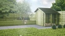 Drewniane domki wyglądają bardzo ładnie w otoczeniu drzewek ogrodowych oraz kwiatów