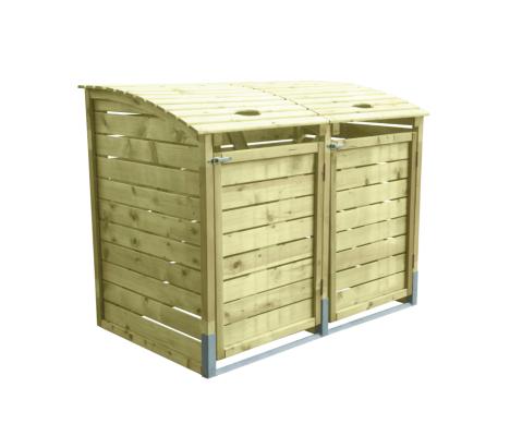 Drewniana, podwójna obudowa na śmietniki - do ogrodu i na działkę