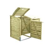 Praktyczne akcesorium ogrodowe: drewniana obudowa na 2 śmietniki