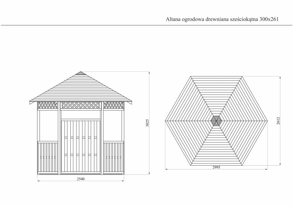 Altana Ogrodowa Drewniana Sześciokątna 300x261