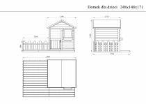 Rysunek techniczny: domek MAGIC z ogródkiem