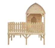 Kreatywna zabawa w ogrodzie - duży domek z tarasem dla dzieci