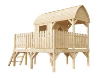 Domek drewniany dla dzieci wykonany z drewna świerkowego