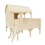 Ogrodowy domek dla dzieci na podwyższonej konstrukcji