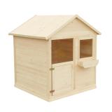 Domek drewniany dla dzieci z drzwiami, okienkiem i doniczką