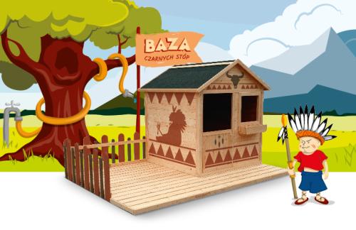 Drewniany, ekologiczny domek ogrodowy dla dzieci MAGIC z ogródkiem