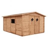 Brązowy domek JUMBO - dużo przestrzeni na narzędzia i akcesoria ogrodowe
