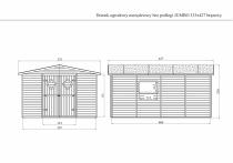 Brązowy domek JUMBO bez podłogi - rysunek techniczny