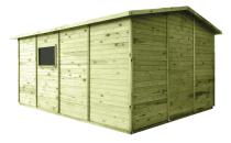 Domki drewniane mają naturalny kolor z zielonkawym odcieniem