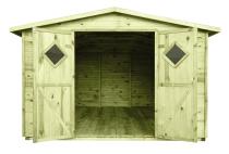 W domku narzędziowym można również wydzielić przestrzeń do drobnych prac ogrodowych