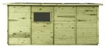 Domek JUMBO posiada okienko z pleksy, na jednej ze ścianek bocznych (montaż po dowolnej stronie)