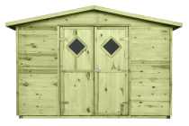 Domek JUMBO o klasycznej konstrukcji, z dwuspadowym dachem
