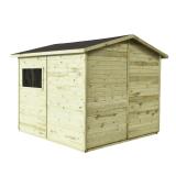 Domek MAXI PLUS posiada podłogę, dach zabezpieczony gontem, trzy regały i stolik przyścienny