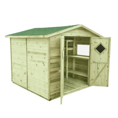 Domek z podłogą o powierzchni 5m2 i zielonym gontem bitumicznym na dach