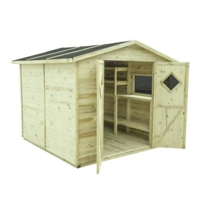 Domek MAXI PLUS z drewnianymi regałami w komplecie