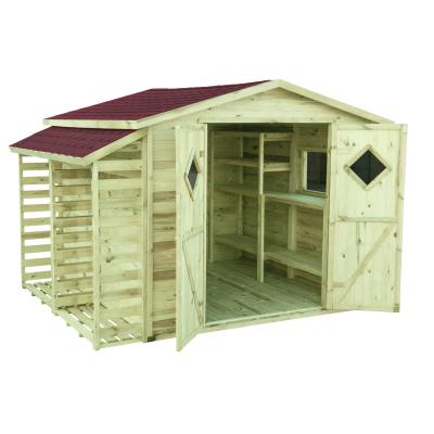Domek drewniany do ogrodu w komplecie z czerwonym gontem bitumicznym, regałami i wiatą na drewno