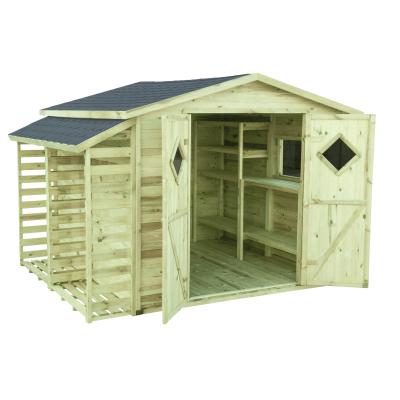 Domek ogrodowy z drewna z dodatkowym wposażeniem