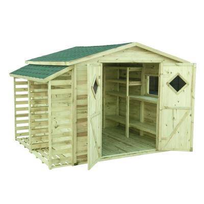 Domek Premium na narzędzia + gont zielony + drewutnia + półki