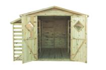 Niezbędny komplet ogrodowy: domek na narzędzia z regałami i wiata na drewno opałowe