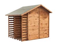 Domek narzędziowy z drewutnią - praktyczne połączenie schowka ogrodowego i wiaty na drewno