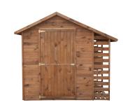 Domek posiada podłogę, okienko z pleksą i jednoskrzydłowe drzwi