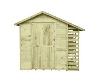 Drewniany domek dodatkowo wyposażony w praktyczną drewutnię do sezonowania drewna opałowego