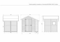 Wymiary zewnętrzne podłogi domku: 227,8 cm (z drewutnią) x 180 cm