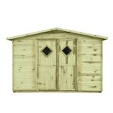 Domek drewniany do przechowywania narzędzi ogrodowych