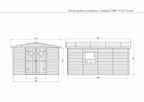 Rysunek techniczny w wymiarami domku