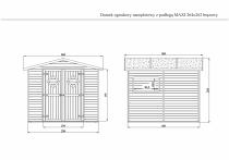 Rysunek techniczny domku MAXI w kolorze brązowym