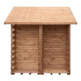 Praktyczna wiata na drewno połączona z domkiem