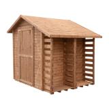 Domek ogrodowy z drewutnią EXCLUSIVE 259x213 brązowy