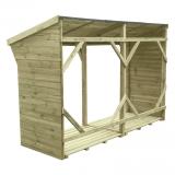Stabilna, wzmocniona konstrukcja wiaty na drewno