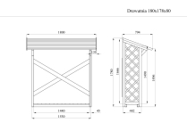 Drewutnia wiata na drewno z podłogą i kratką 180x80 1,6m3