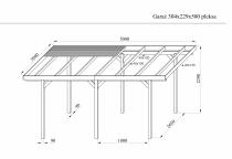 Wymiary garażu drewnianego z pleksą na rysunku technicznym