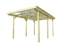 Wiata drewniana posiada słupy konstrukcyjne o grubości 9 x 9 cm