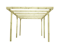 Garaż drewniany ogrodowy na solidnych słupach konstrukcyjnych (9 cm grubości)