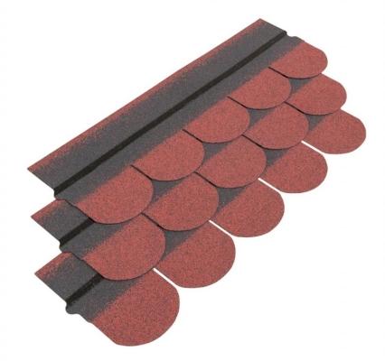Czerwony gont bitumiczny w kształcie karpiówki