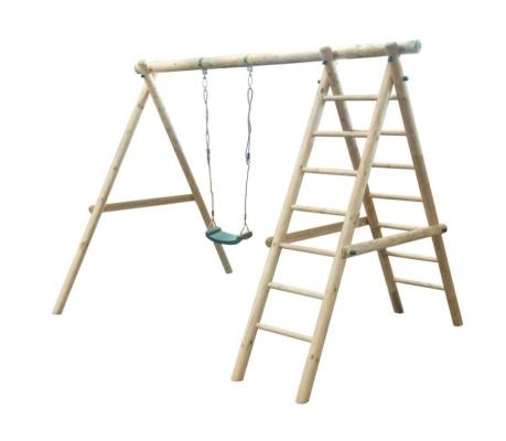 Drewniana huśtawka ogrodowa z drabinką - ulubione miejsce Twojego dziecka