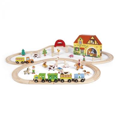 Drewniana kolejka Farma + akcesoria: doskonała zabawa dla każdego dziecka